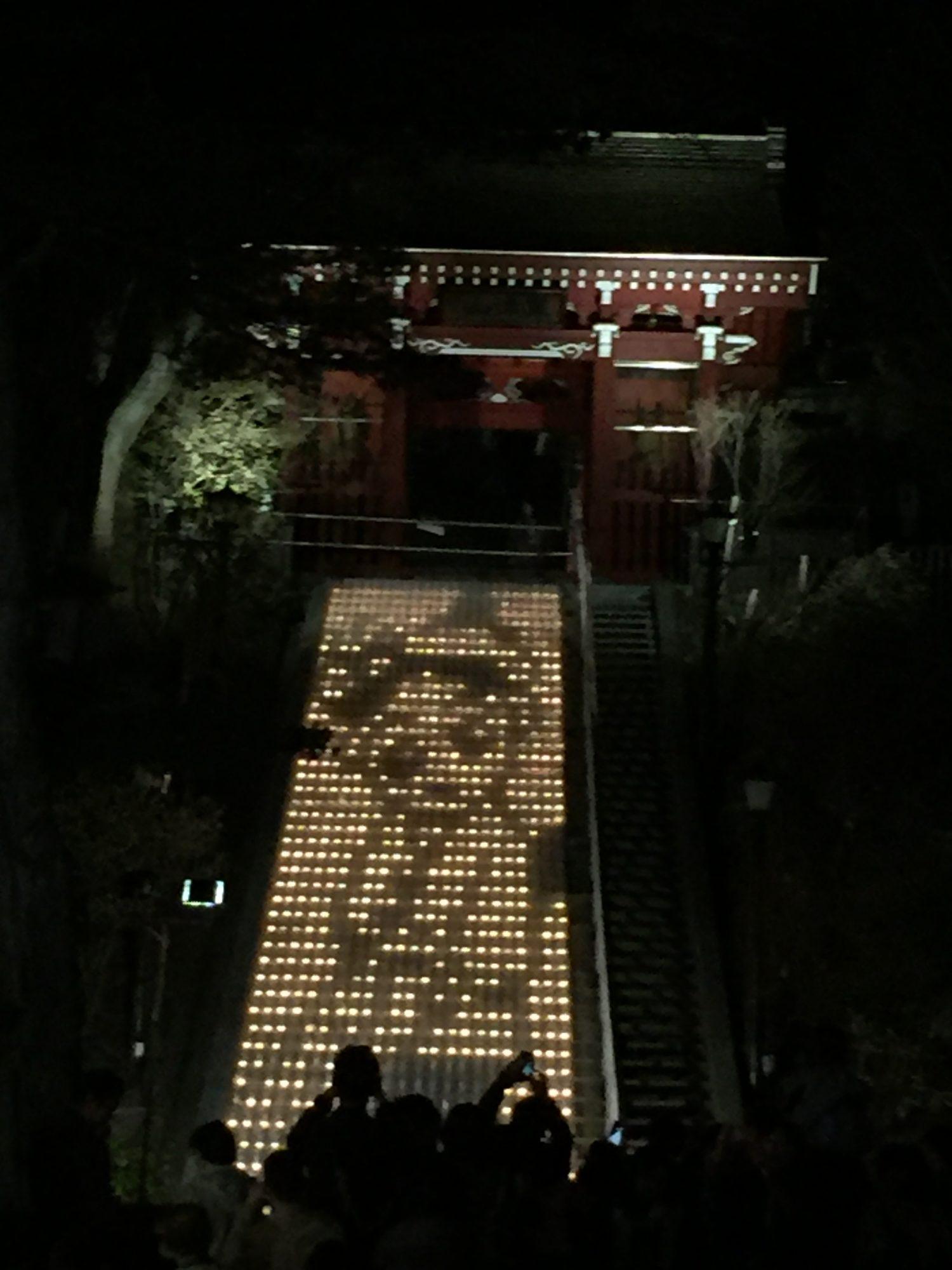 草津温泉湯畑、ライトアップ
