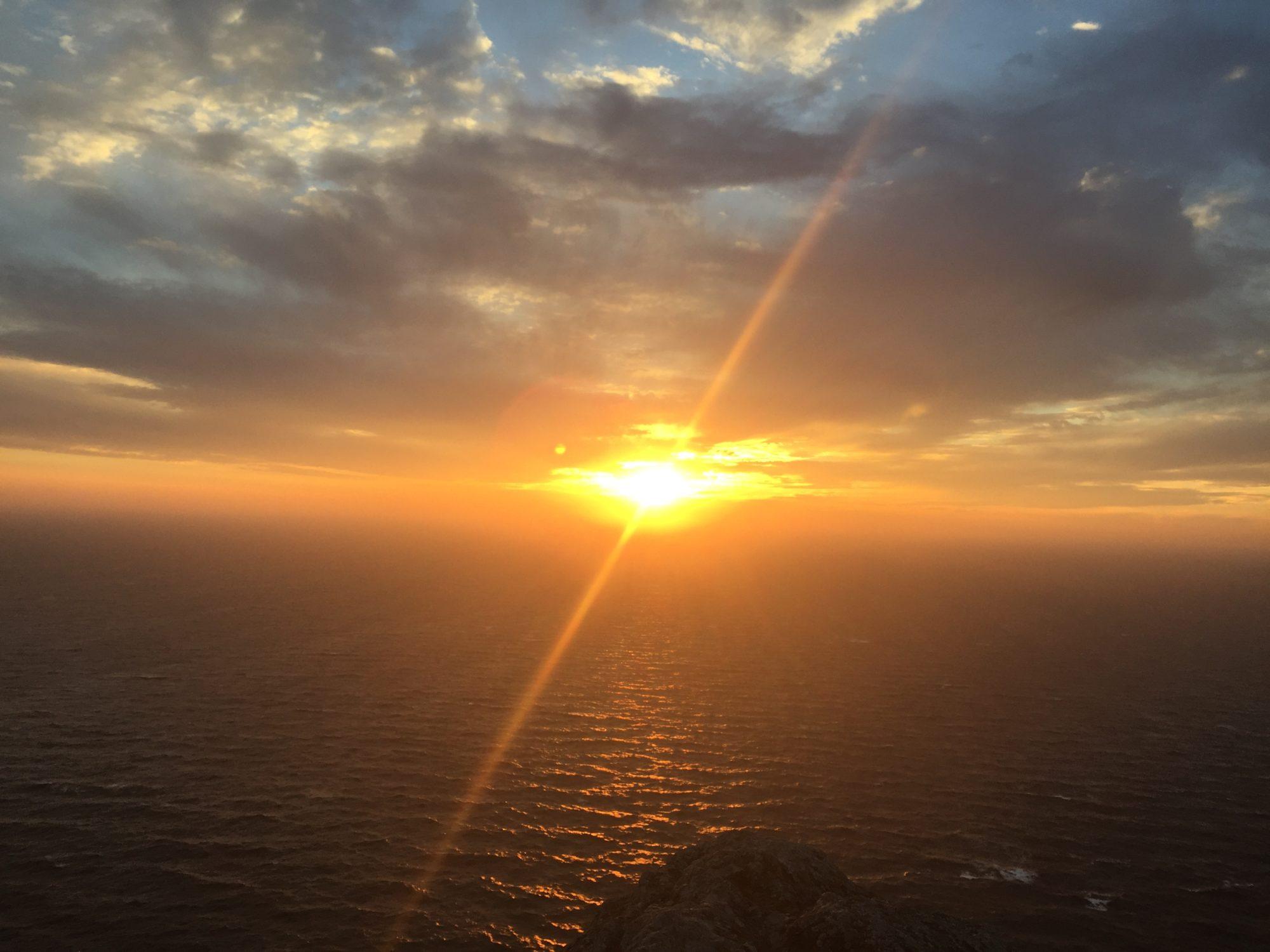 烏帽子山からの夕日
