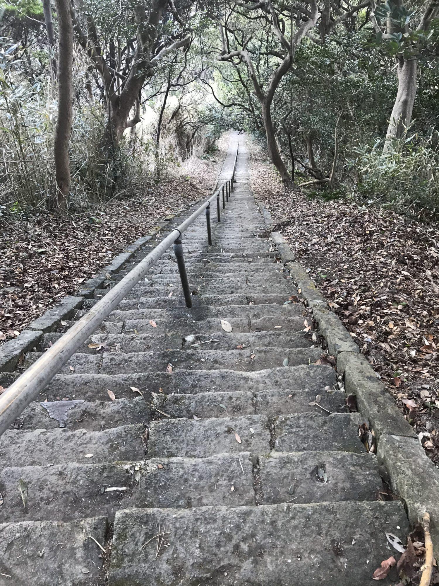 烏帽子山の急な階段