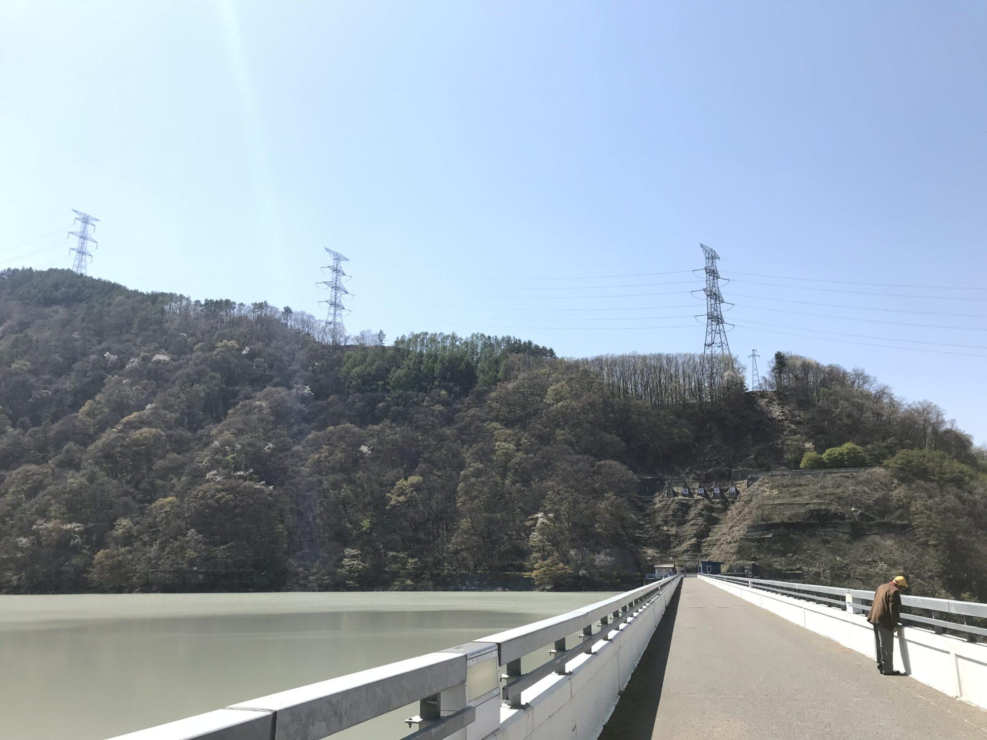 美和ダム堤防の上を歩けます。