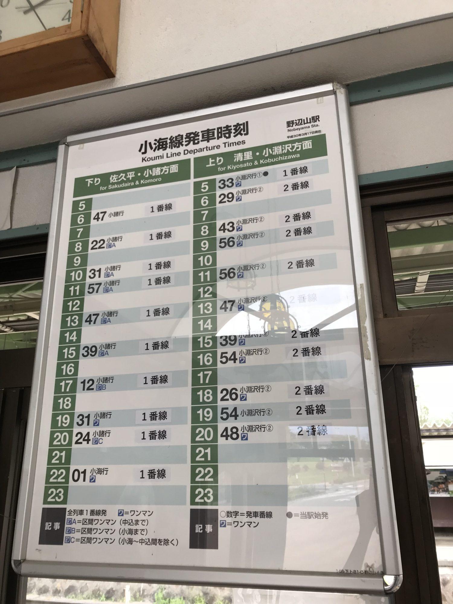 野辺山駅時刻表