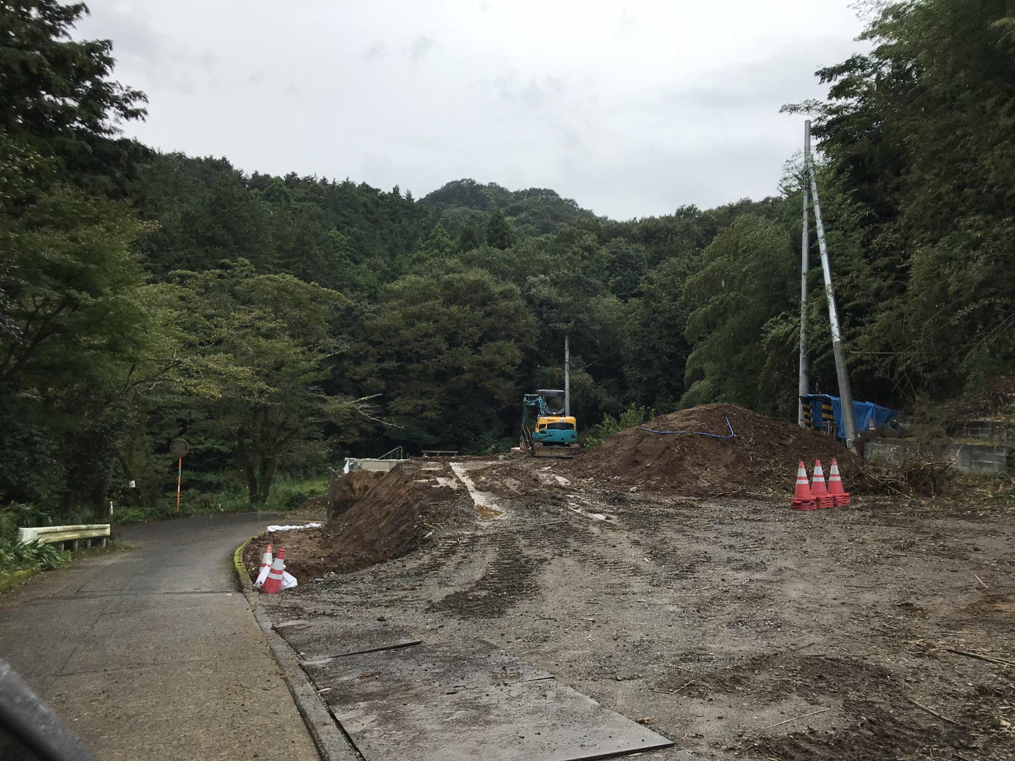 飯山長谷寺参道工事中