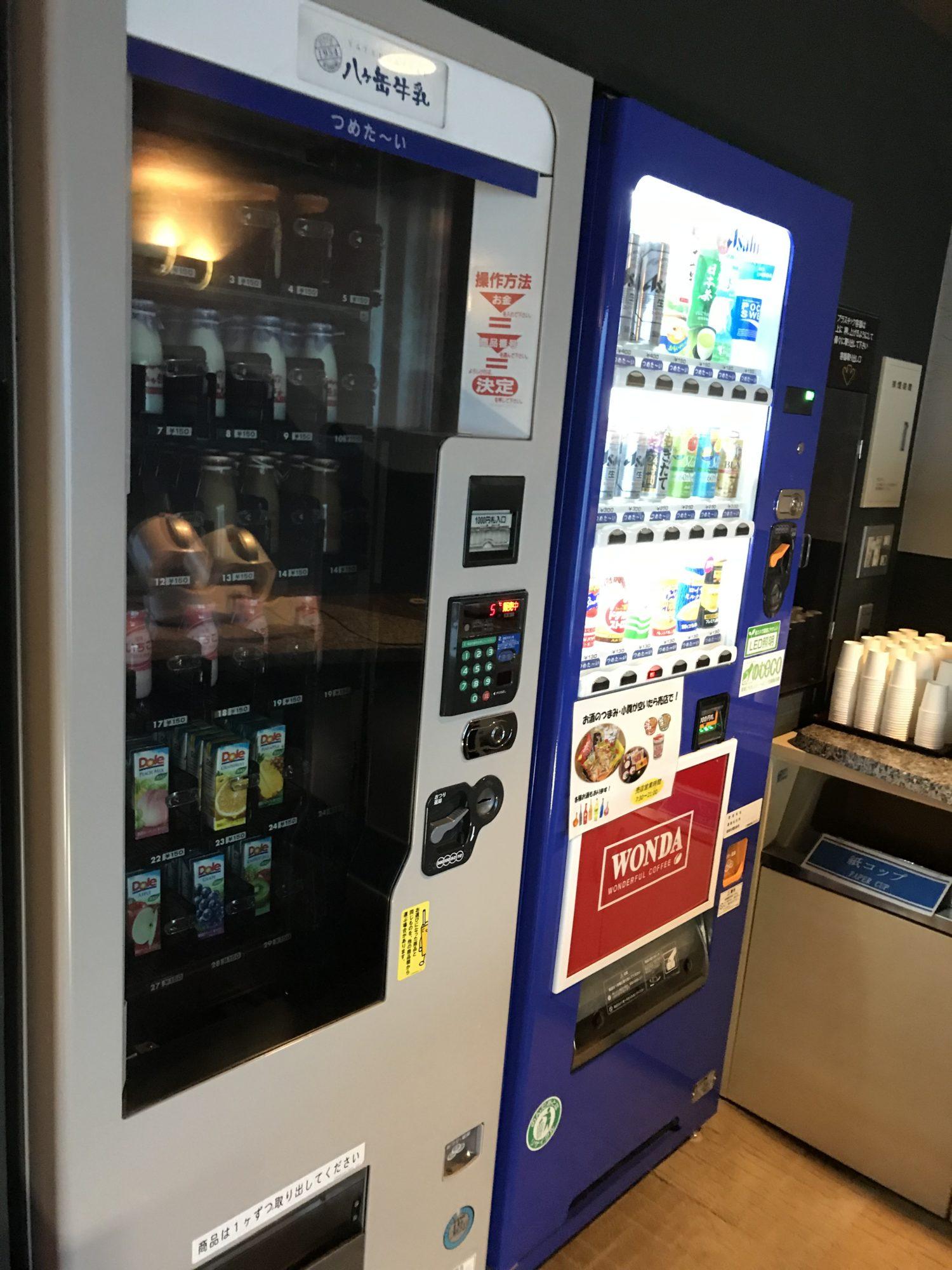 紅やホテル本館14階牛乳の自動販売機