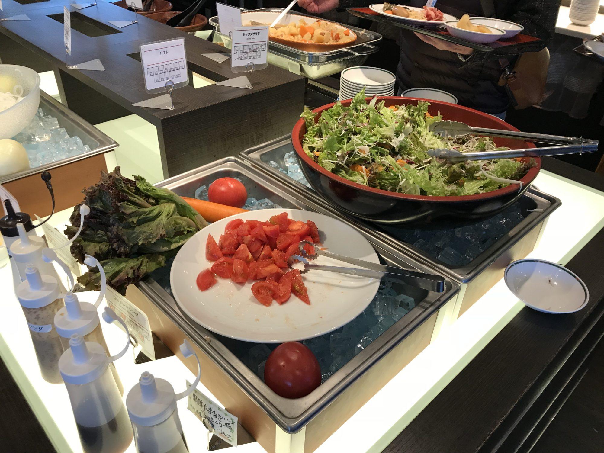 紅やホテル朝食バイキングの野菜