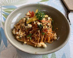 カフェジャルダンランチ有機野菜のパスタ